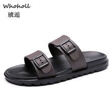 где купить Whoholl Men Slippers Summer Beach Male Slides Women Non-slip Flip Flops Striped Style Outdoor Indoor Sandals for Couple Soft 9.5 по лучшей цене