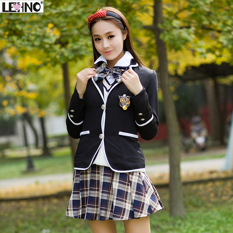 15429c2f9 Girls sweater vest jacket blouse skirt set fashion preppy style school  uniform women high quality winter