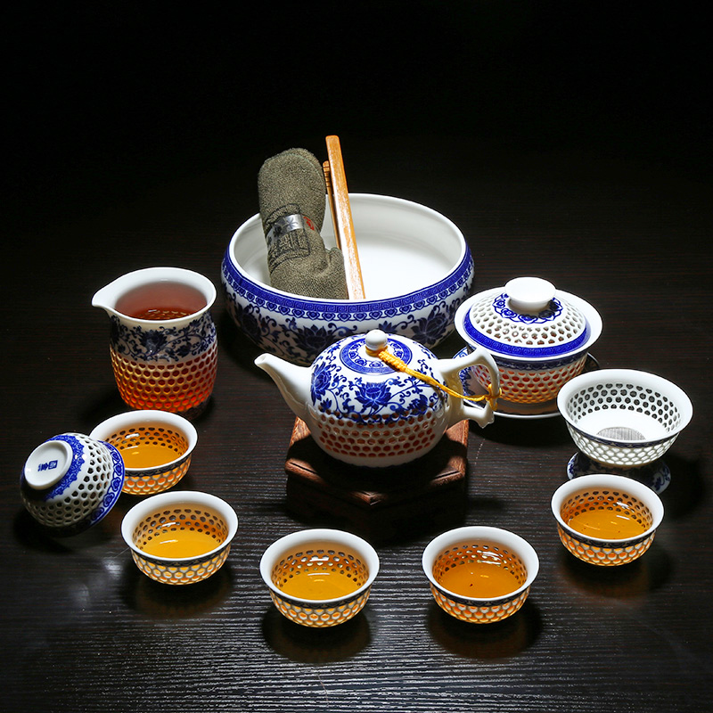 Hollow Honeycomb Gaiwan Gong Fu Tea Set 1