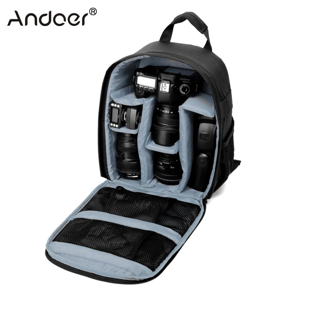 Andoer Camera Bag Waterproof Backpack for Canon Nikon Sony DSLR Cameras Lens Flashes