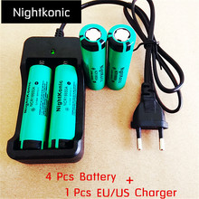 Nightkonic 4 PCS/LOT 18650 battery  3.7V Li-ion Rechargeable Battery 18650B Flat top Green + 1 PCS (EU/US) 2 slot Charger