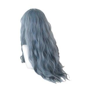 Image 4 - L e mail perücke Lange Blau Mix Grau Lolita Perücken Staubige Blaue Wellenförmige Harajuku Cosplay Perücke Hitze Beständig Synthetische Haar halloween