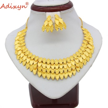 Adixyn India Choker Necklace Earrings Gold Color/Copper Jewelry Sets African/Nigerian Bridal Wedding Accessories Gift N06082