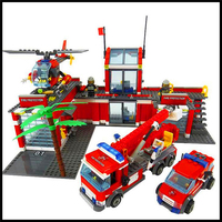 Factory Price 774Pcs Building Blocks Toy City Fire Station DIY Assemble Figure Educational Brick Brinquedos For