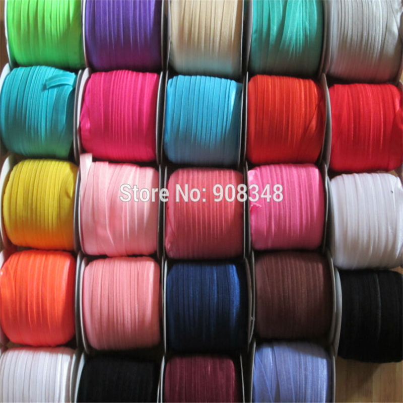 5 8 16mm 80 Colors Solid color fold over Elastic Ribbon foe Stretchy webbing hair Ribbons
