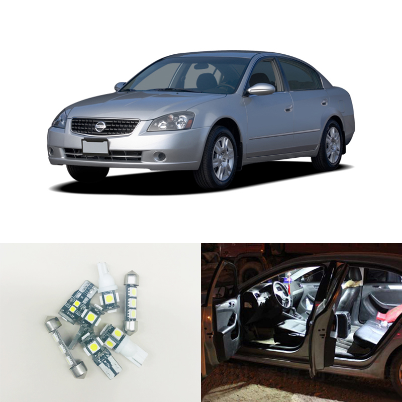 7pcs White Led Light Bulbs Interior Package Kit For 2002 2006 Nissan Altima Map Dome Step