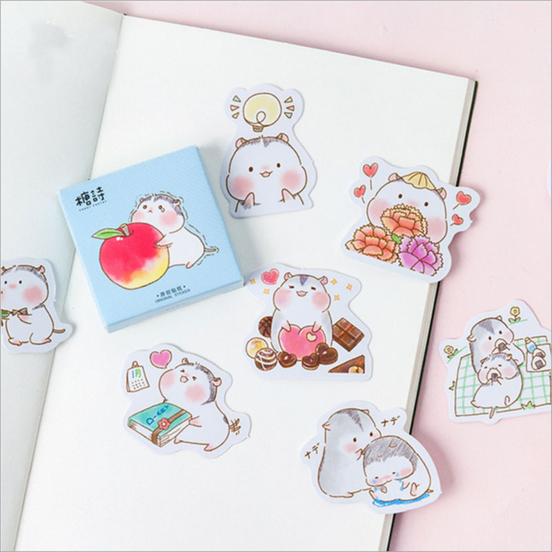 45 pcs/box cute Hamster Baby mini paper sticker DIY decoration Scrapbooking Label Seal Sticker kawaii Stationery