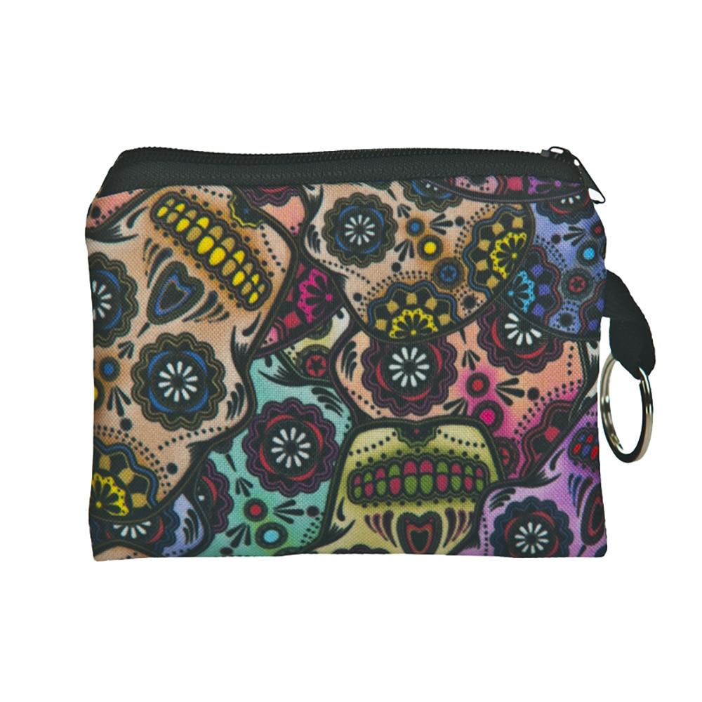 M029 European American Fashion Personality Zipper Bag 3D Digital Printing Color Skull Coin Purses Women Girl Gift Wholesale