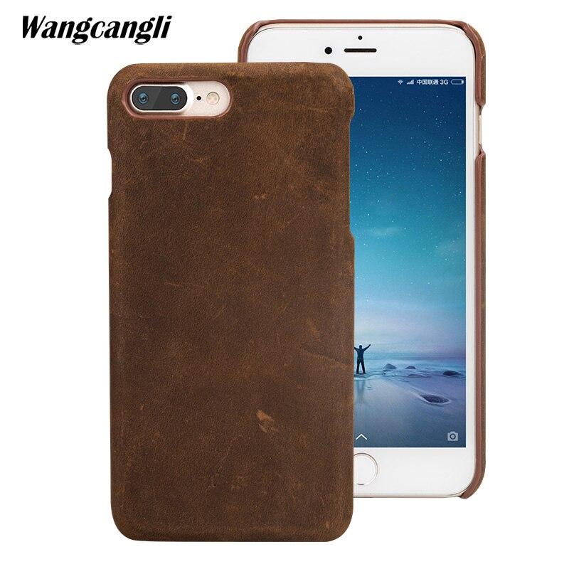 Mode nouveau cuir de cheval fou pour iPhone 7 8 6 6 s plus 5 5 s se x étui fait à la main personnalisé affaires peau de cheval fou