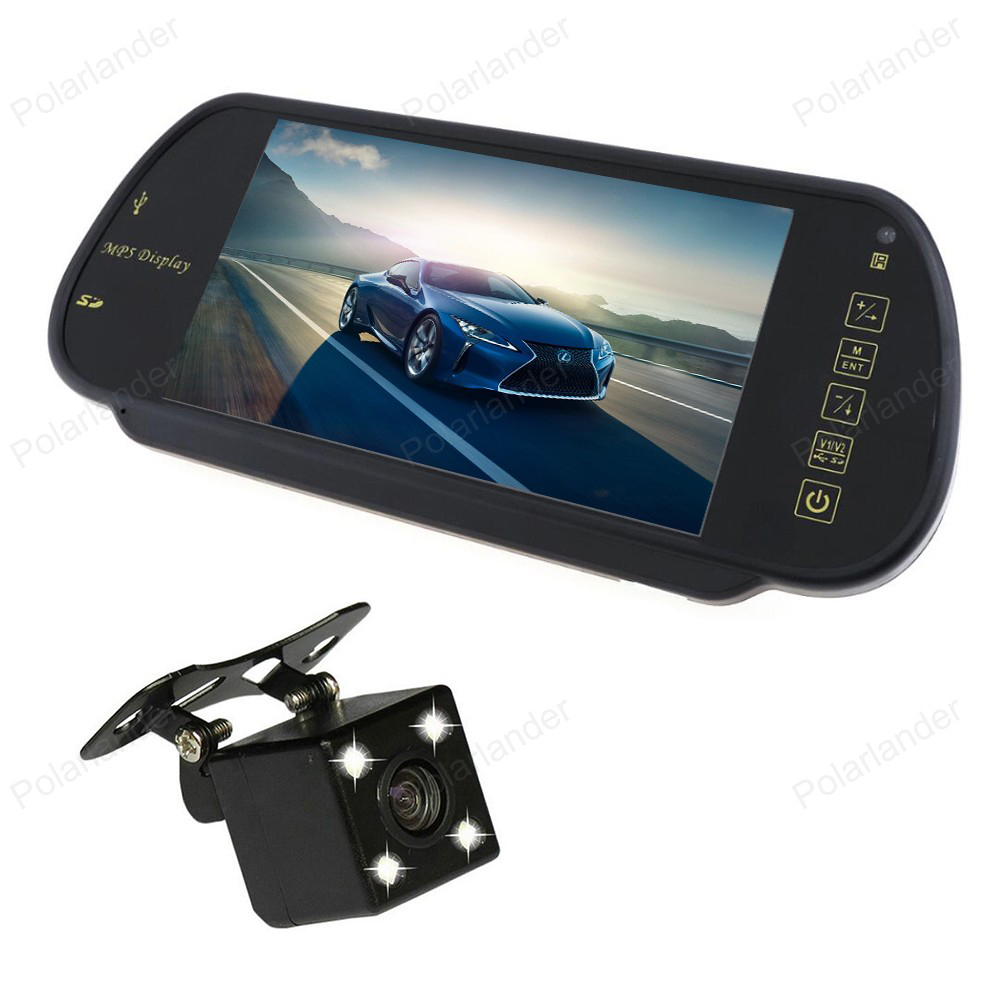 Car Video Parking Monitor MP5 Auto Rear View Mirror Monitor Support SD/USB FM Radio With Reverse CCD Camera LCD Screen 7 Inch