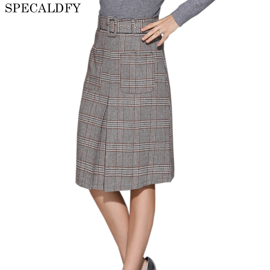 Autumn Winter Wool Skirt Women Slim High Waist Short Skirts Womens 2018 European Fashion Vintage Plaid Pencil Saia Feminina