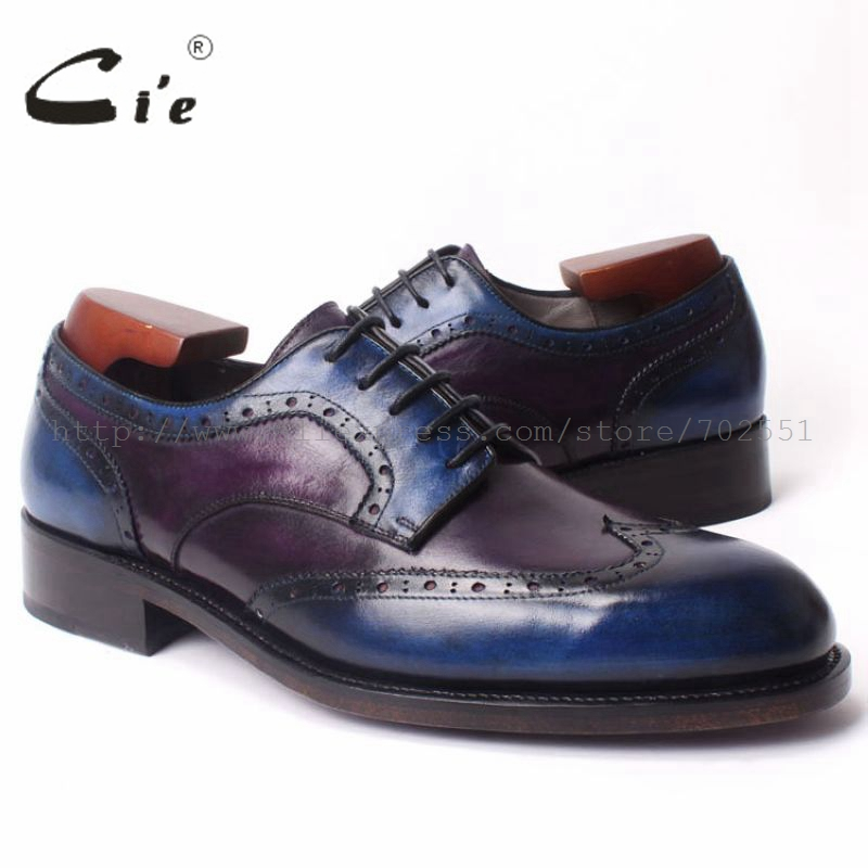 cie Round Toe Bespoke Handmade Men's Shoe Derby Calf Leather Goodyear welted craft Brogue Shoe Color Purple and Deep Blue No.D96 cie calf leather bespoke handmade men s square toe derby leather goodyear welt craft mark line shoe color deep flat blue no d98