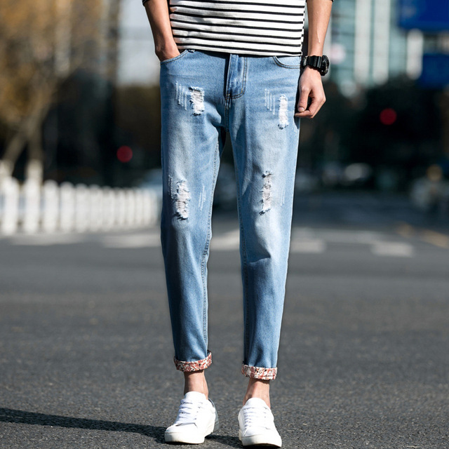 0aa5b3d12fd Men Jeans Business Casual Thin Summer Straight Slim Fit Blue Jeans Stretch Denim  Pants Trousers Classic Cowboys Young Man