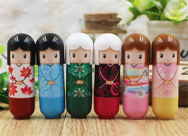 6pcs/lot Fashion cute Waterproof Cartoon Kimono Doll Lip Balm Long Lasting Moisturizing Lipstick smackers Women Lips Makeup 5