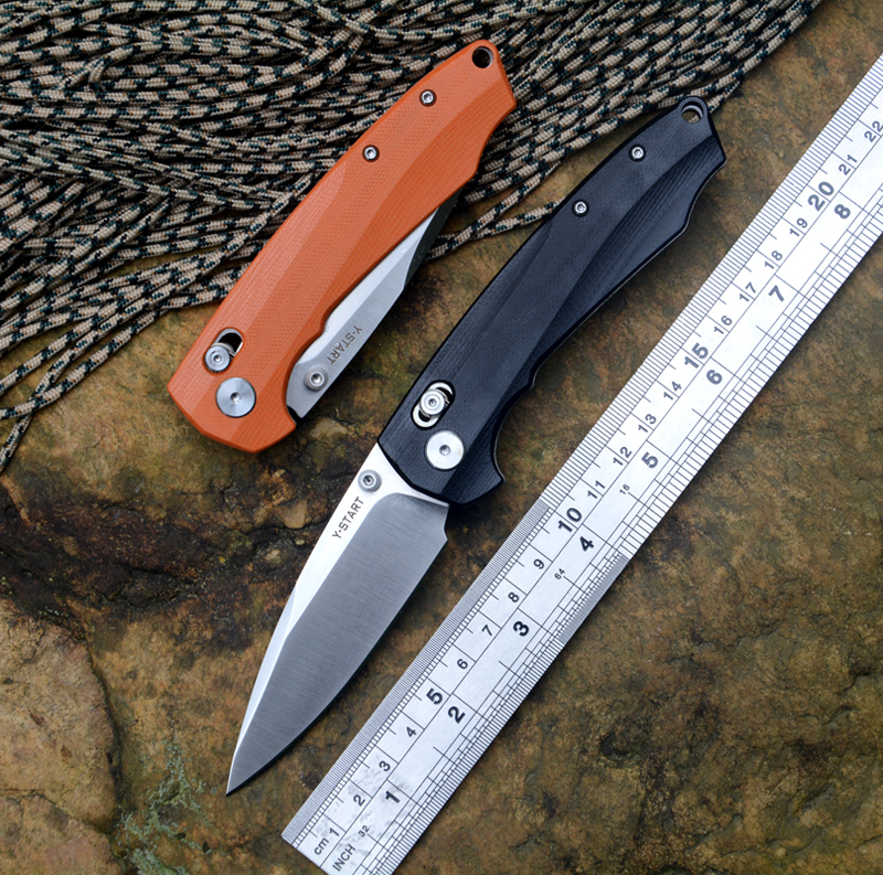 Y START JIN04 folding knife with satin blade ball bearing washer G10 handle outdoor camping hunting pocket knife EDC tools