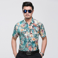 Hot selling mens bloemen kleding zomer 2017 nieuwe ontwerp mode bloemen shirt mannelijke causale korte mouwen bloemen gedrukt jurk shirt