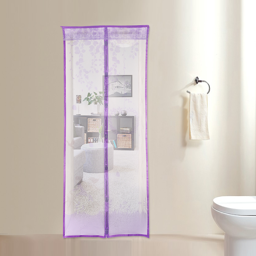 2 Size Colorful Curtain Anti Mosquito Magnetic Tulle Shower Curtain  Automatic Closing Door Screen Summer Style