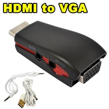 HDMI to VGA Adapter Male to Female Conversion Connector 1080P for Tablet Laptop HDTV DVD with 3.5mm audio Cable USB Power Cable