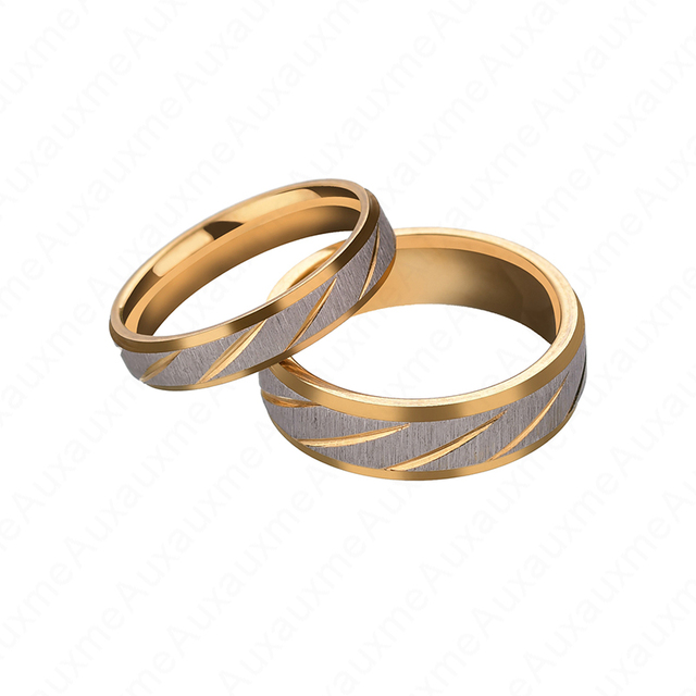 Auxauxme Titanium Steel Lovers Couple Rings Gold Wave Pattern Wedding Promise Ring For Women Men Engagement Jewelry Party Gift 3