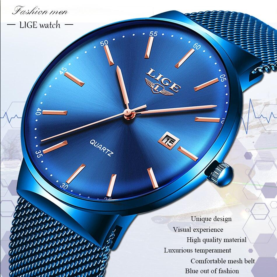 HTB1p9umaOYrK1Rjy0Fdq6ACvVXac Relogio Masculino New Mens Watches LIGE Top Brand Luxury Fashion Watch Slim Mesh Date Waterproof Quartz Watch For Men Blue Clock