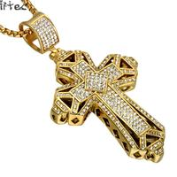 Iced Out Cross Men Pendants Necklaces Gold Color Bling Full Rhinestone Stainless Steel Christian Cross Necklace