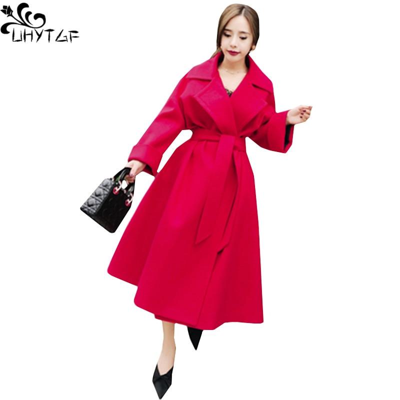 UHYTGF المرأة الخريف الصوفية معطف 2018 زائد حجم طويلة الكورية امرأة الصوف معاطف أزياء حزام فضفاض امرأة معاطف عالية جودة 367-في صوف مختلط من ملابس نسائية على  مجموعة 1