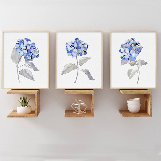 Framed Canvas Art Hydrangea Minimalist Watercolor Botanical Plant ...