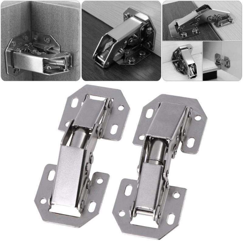 10 Uds. Bisagras de puerta de armario resorte Rana bisagras de puerta de armario sin agujero de perforación herrajes de muebles soporte de armario de cocina