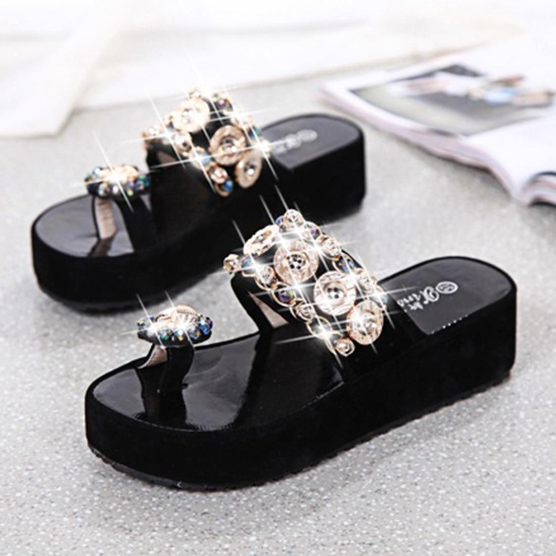 Black sandals rhinestones - Rhinestones Sandals Women Summer Platform Flip Flops Casual Beach Slippers Woman Slip On Black Sandals Wedge