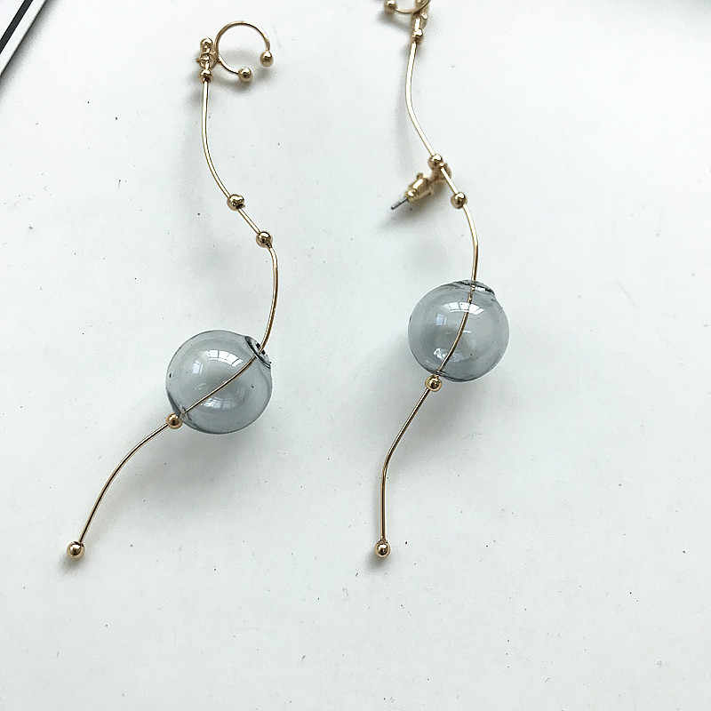 ins Cool Style Copper Simple Glass Ball Wire Ear Cuff For Women Original Hot Korean Long Earrings For Women 2018 Brincos Jewelry