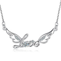 100 Silver 925 Jewelry Sterling Silver Necklace For Women Wings Of Love Silver Pendant For