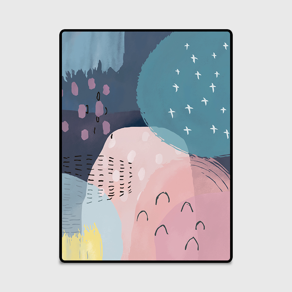 Modern Nordic Fashion Cartoon Watercolor Print Door/Kitchen mat Living Room Bedroom Bedside Area Rug Decorative Carpet Blue Pink|Carpet| |  - title=