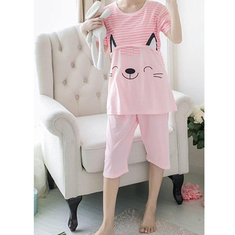 New Arrival Summer Cat Cotton Maternity Pajamas Set Maternity Sleepwear Pregnant Women Clothes Nursing Maternity Pajamas SY53