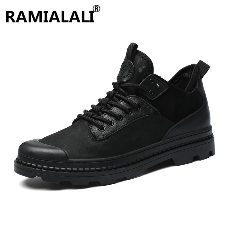 Homme Hommes Mode Réel Décontractée En Véritable De Hiver Ramialali Noir Cheville Cuir Designer Chaussures Bottes IFqwqTPx