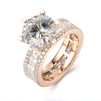 Luxury 3 Carat ct DF Color Engagement Wedding Lab Grown Moissanite Diamond Ring With Moissanite Accents Solid 14K 585 White Gold