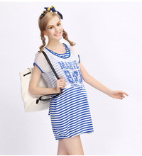 Retail Sale 100% Knitting Cotton Lady Women Clothes Navy Stripped Maternity Dress Summer Knitting Cotton Dress For Pregnancy