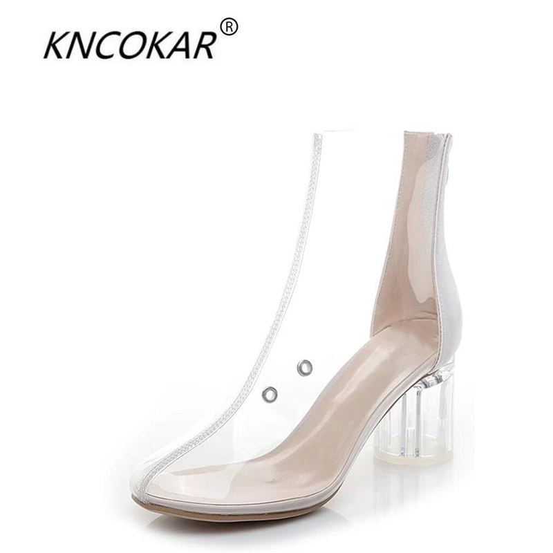 KNCOKAR 2018 British style women s new transparent fashion breathable comfortable crystal chunky boots with short
