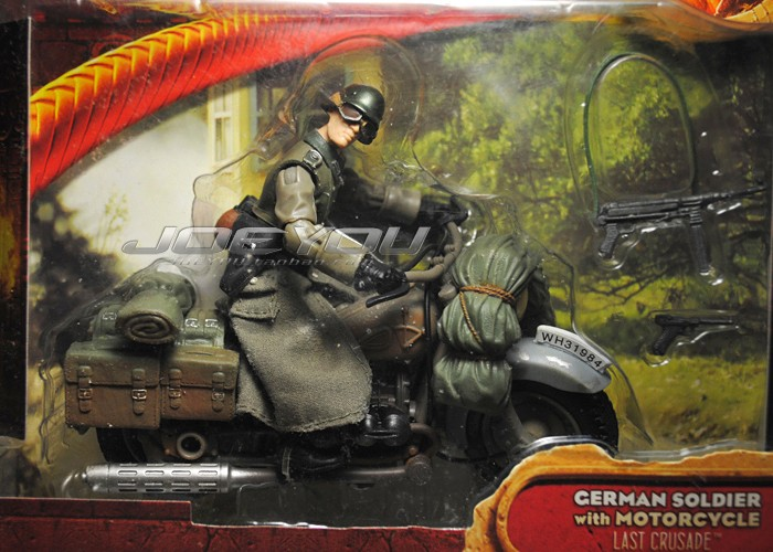 Limited! 10CM High Classic Toy Raiders of the Lost Ark Indiana Jones German cavalry patrol motorcycle action figure Toys