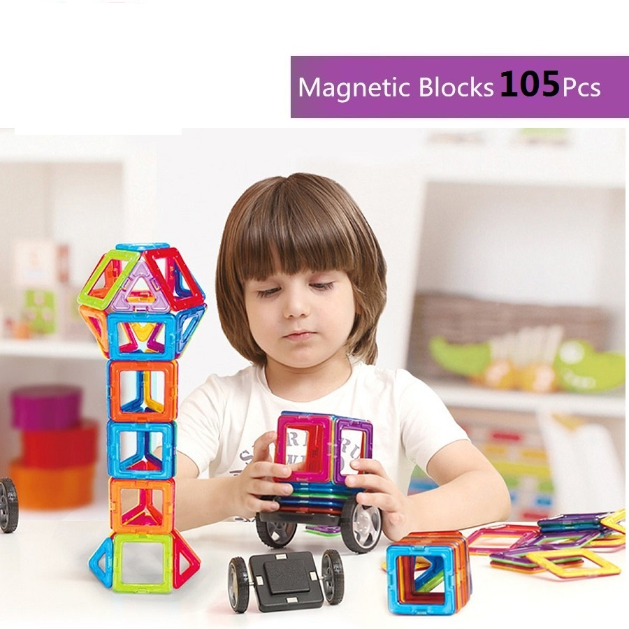 105Pcs Magnet Stacking Block Sets Educational Magnetic Construction Building Toys Preschool Skills Educational Construction Toys magnetic building block sets skills educational game