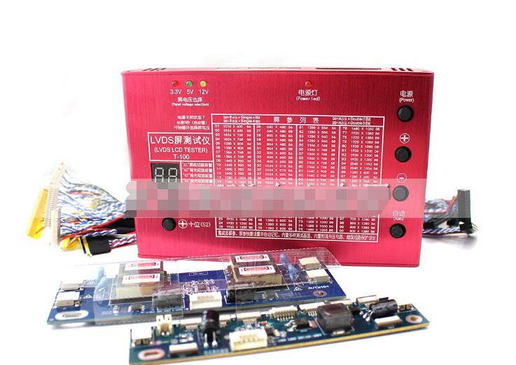 Алюминий В виде ракушки ноутбука ТВ ЖК-дисплей/LED Панель тестер 7-84 Встроенный 100 программ w/LVDS Кабели и инвертор и светодиодные табло