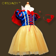 2 - 14 Years Fantasia Girls Snow White Dresses for Kids Masquerade Clothing Pretty Girl Children Tulles Princesa Cosplay Dress