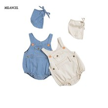 MILANCEL 2019 Denim Baby Sleeveless Infant Girls Bodysuits