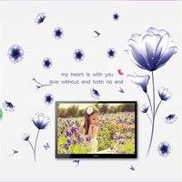 Çıkarılabilir DIY Banyo Duvar Sticker Büyük Boy TV Arkaplan Çiçek Duvar Sticker Modern Ev Dekor Mor Çiçek Sticker