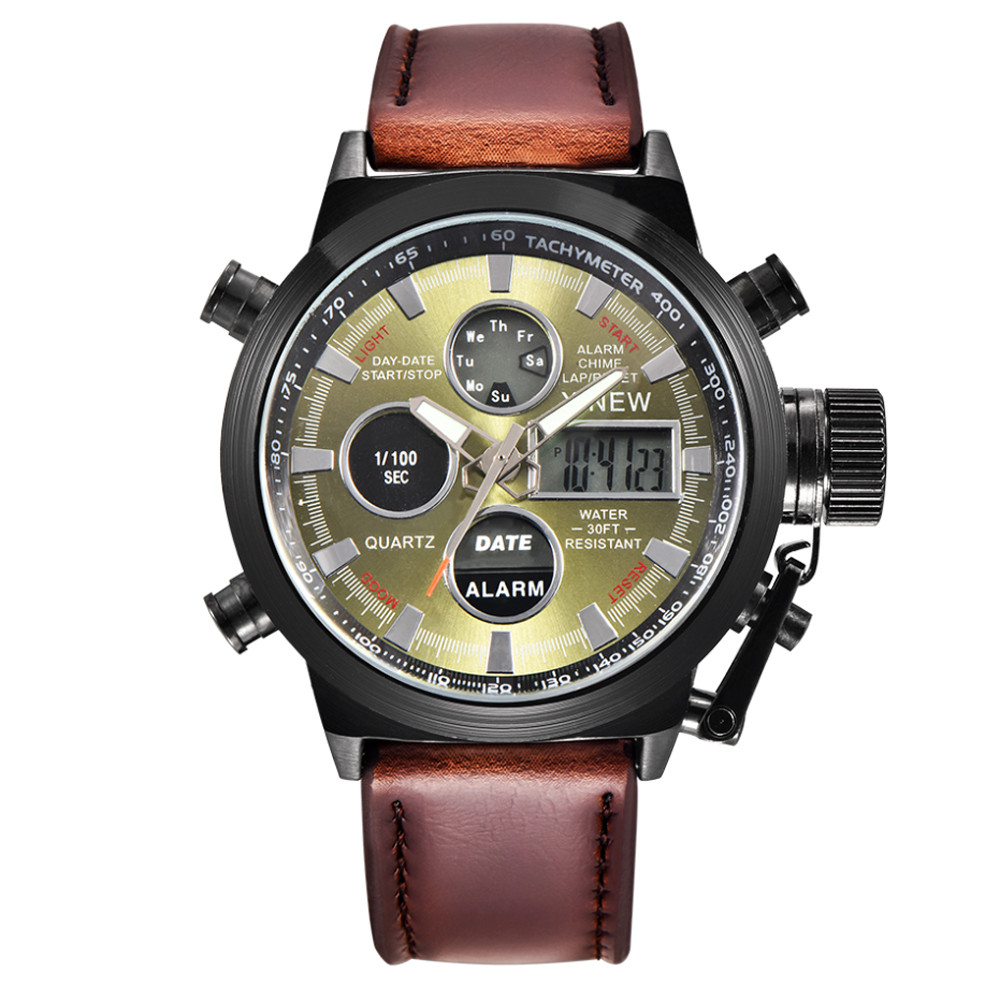 Luxury Military Army LED Watches Men's Date Watch Fashion Leather Strap Stainless Steel Wrist Watch Classic Analog Quartz Clock