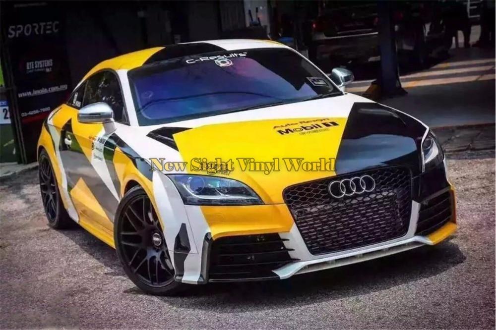 Elite Yellow PIXEL Camouflage Vinyl Wrap Car RACING Film Bubble Free For JEEP SUV TRUCK sport elite se 2450