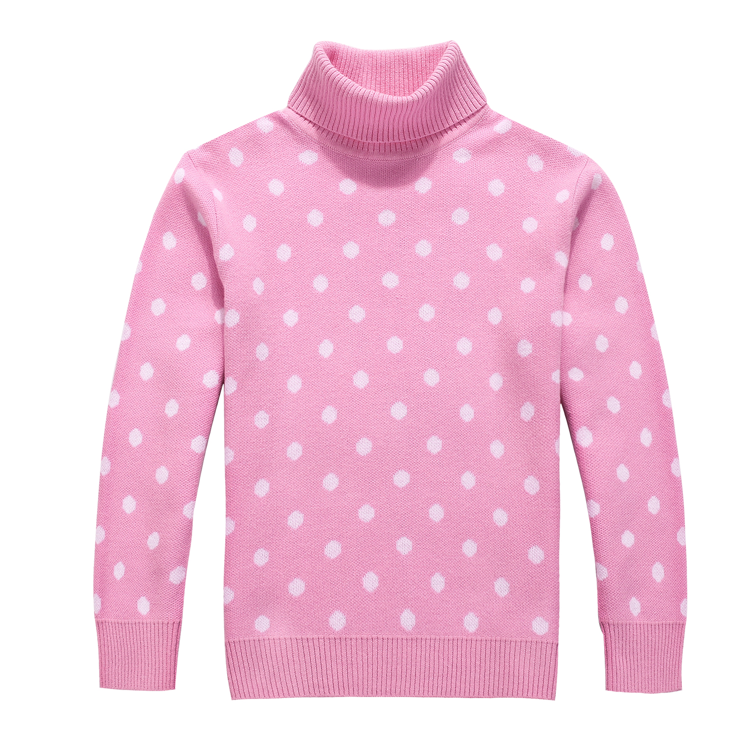 Spring and Autumn Girl 100% Cotton Dots Pattern Princess Turtleneck Sweater Children's Clothing Pullover Sweater for Girls-in Sweaters from Mother & Kids