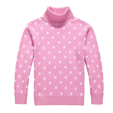 Spring and Autumn Girl 100% Cotton Dots Pattern Princess Turtleneck Sweater Childrens Clothing Pullover Sweater for Girls