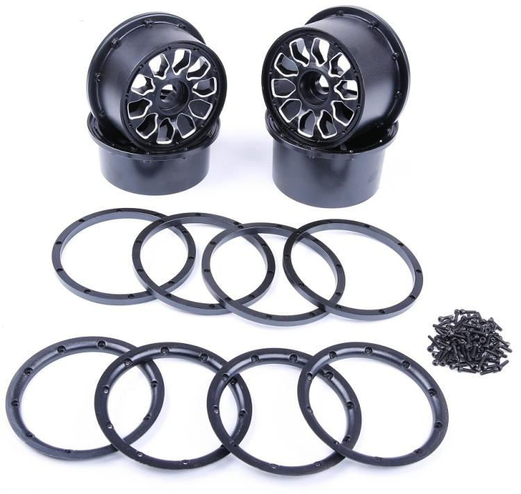 Dark Knight (Wildflower) Aluminum Alloy Rims Fits King Motor Buggies HPI 5B, SS, 2.0, Rovan Buggy and other Bajas with 24mm hex free shipping cnc alloy metal front bulkhead fits hpi baja buggy 5b ss 5t king motor truck 1 5