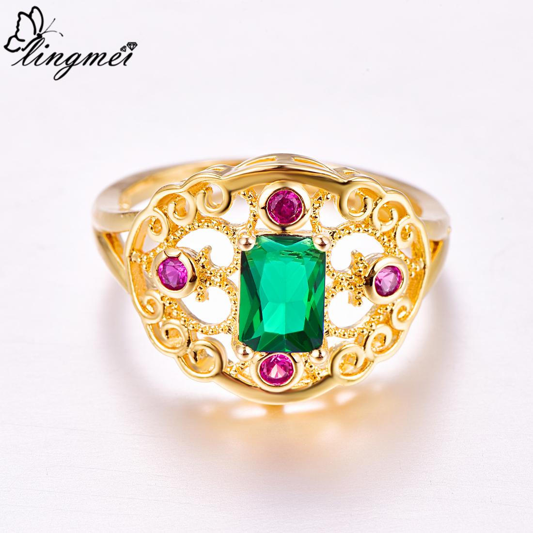 Lingmei Wedding Band Fashion Gorgeous Ring for Women Blue Green Zircon Silver Yellow Gold Color Ring Size 6 7 8 9 Christmas in Rings from Jewelry Accessories