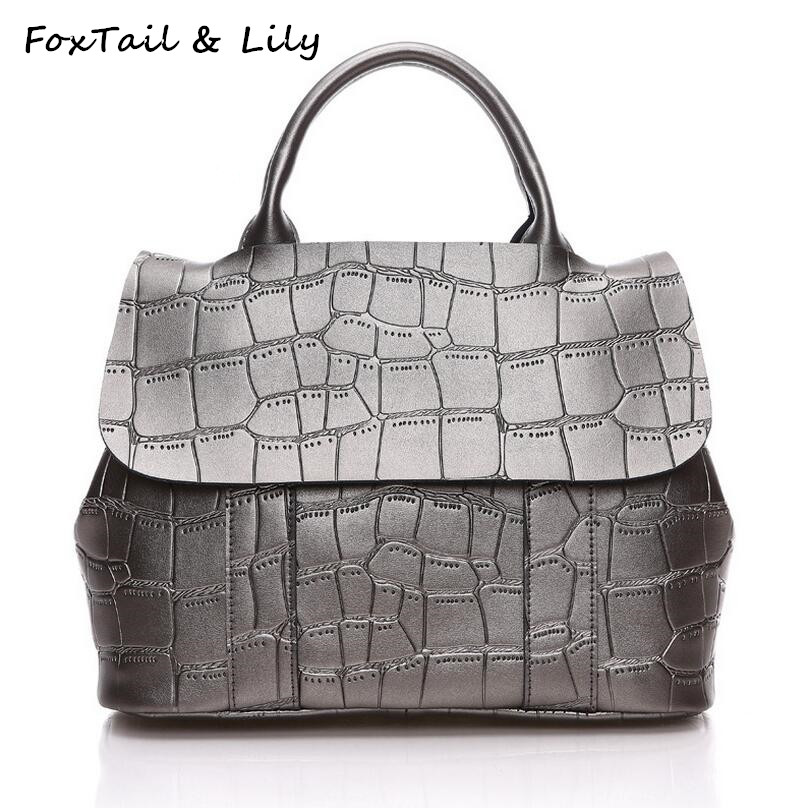 FoxTail & Lily Famous Designer Stone Pattern Women Genuine Leather Plaid Handbags High Quality Ladies Shoulder Crossbody Bags